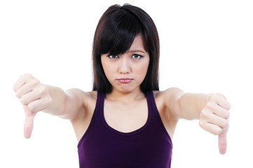Young Asian Woman Showing Thumb Down Sign