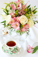 flowers  and cup of tea