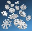 Falling 3D snowflakes
