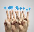 Fingers representing a social network