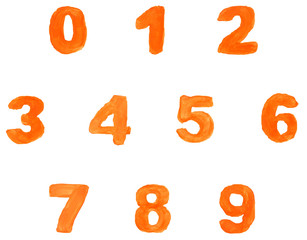 High resolution orange hand painted font set