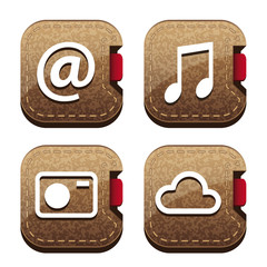 Set of four brown folder icons