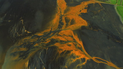 Aerial View of Icelandic Glacial River Mineral Sediments
