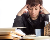 Concentrating Woman working on Finances