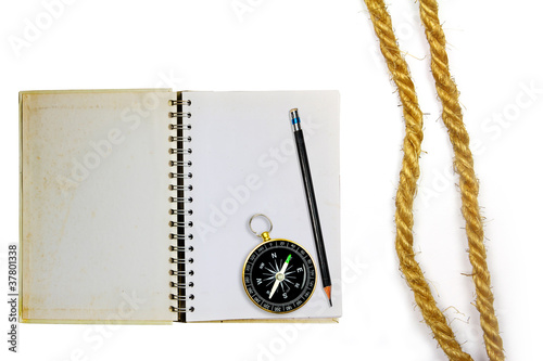 Compass with rope on white background