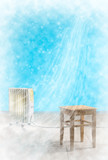Frozen room cold wind snow heater wooden chair