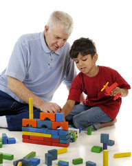 Playing Blocks with Grandpa