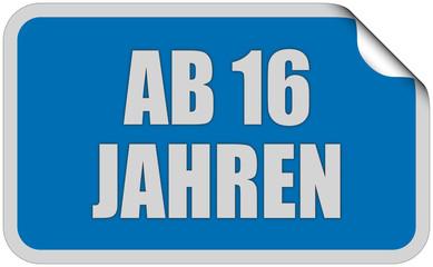 Sticker blau eckig curl oben AB 16 JAHREN