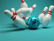 Bowling Strike blau
