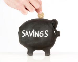 hand putting money on a piggy bank