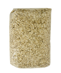 bag of large flake organic quick oats, isolated