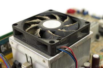 Side of dusty CPU fan