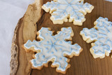 three snowflake cookies