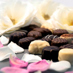Chocolate truffles and rose petals 02