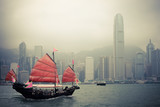 Fototapety chinese style sailboat in Hong Kong