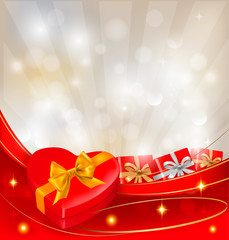 Abstract background with red bow and ribbons.