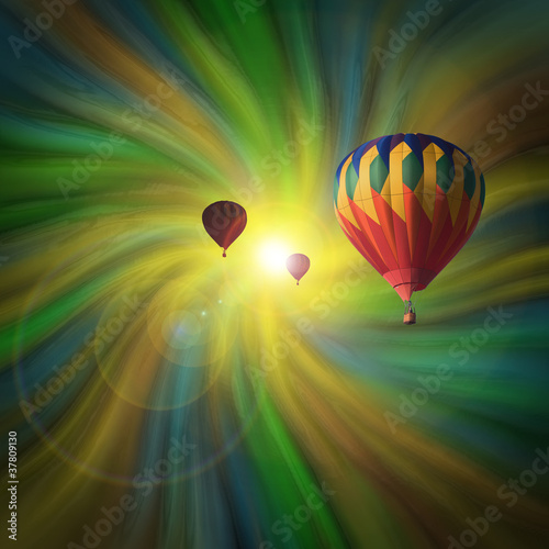 Hot-Air Balloons Flying in a Vortex