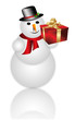 Happy snowman holding gift box