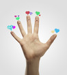 Group of finger smileys with love heart speech bubbles