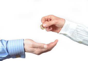Hand giving or donating one euro coin