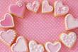 ピンクのハートのクッキー