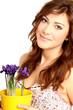 Frau mit Blumentopf