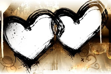 valentines grunge background with two  hearts