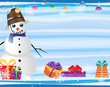 blue-eyed snowman and gift boxes