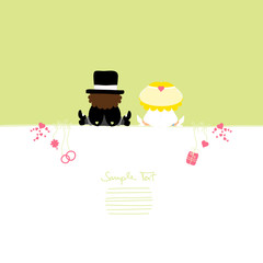 Card Sitting Groom & Bride Symbols Green