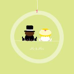 "Sitting Groom & Bride Green Ring ""Mr. & Mrs."""