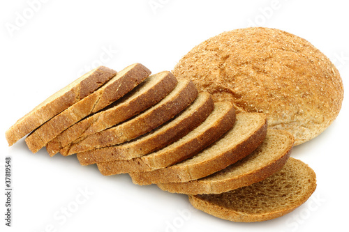 Cut bread on a white background