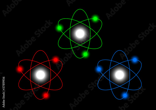 Atoms on black background