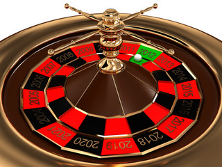 Roulette with years isolated on white background. 3D image