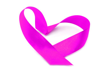 Pink heart ribbon bow on a white background