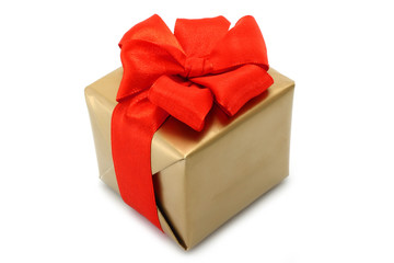 Gold present box with red bow on a white background