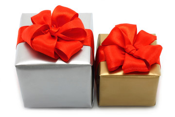 Present boxes on a white background