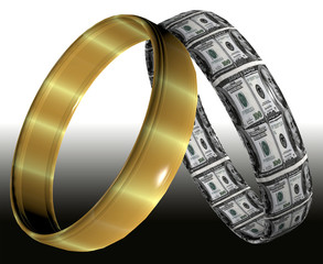 Wedding rings symbolizing prenuptial agreement