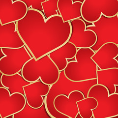 Background with red hearts. Illustration