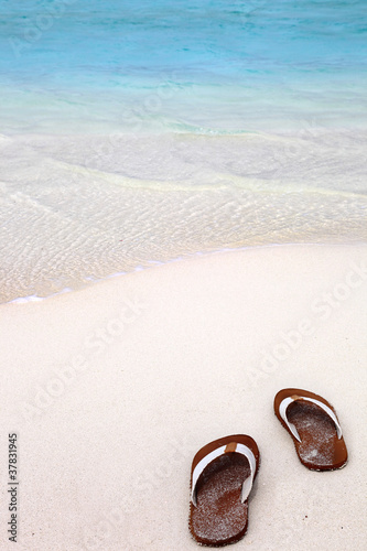 Poster Flip Flops on the Beach