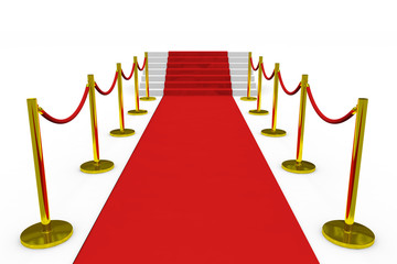 Staircase with red carpet on white background.