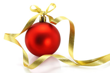 Red Christmas ball with golden ribbon on white background