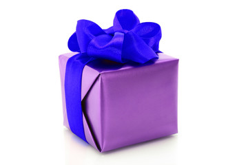 Purple present box with blue bow