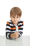 boy holding a lamp, isolated on white background