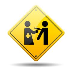 Señal amarilla simbolo vacuna