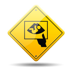 Señal amarilla simbolo ecografia