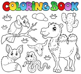 Coloring book desert animals 1