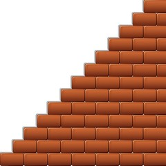 Scala Muro Mattoni Rossi-Red Bricks Wall Stair-Vector