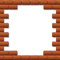 Cornice Muro Mattoni Rossi-Red Bricks Wall Frame-Vector