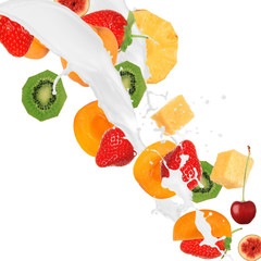 Fresh fruits in cream splash over white background