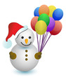 snowman holding balloons illustration design on white